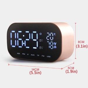Image 4 - LED ساعة تنبيه مع راديو FM سماعة لاسلكية تعمل بالبلوتوث المتكلم دعم Aux TF USB الموسيقى لاعب ل مكتب غرفة نوم