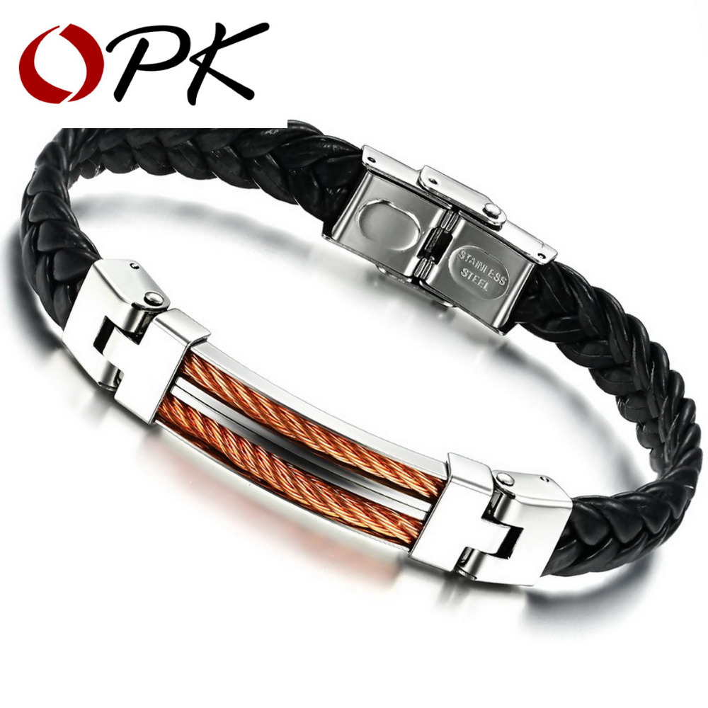 OPK Classical PU Leather Braided Wrap Bracelet Stainless Steel Rose