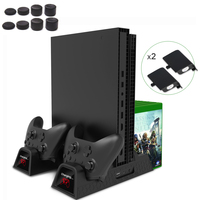 For Xbox ONE/One S/One X Vertical Charging Stand Cooling Fan Cooler With 2pack 600mAh Batteries Games Storage CD Holders Grips