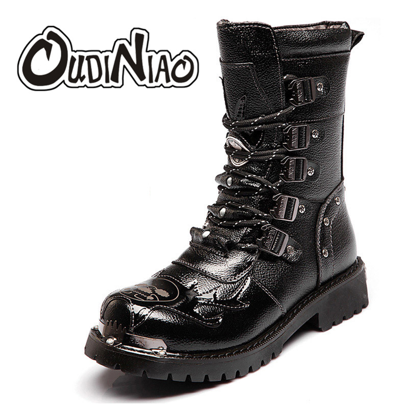 OUDINIAO Boots Men Military Split Leather Combat Boots Metal Skull Male Motorcycle Punk Boots Men's Shoes Rock Mid Calf