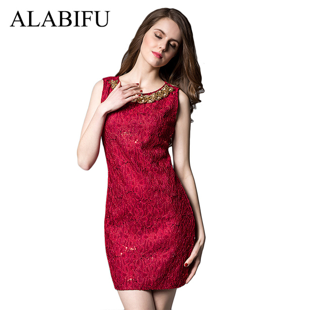ALABIFU Summer Dress Women 2018 Casual Office Pencil Bodycon Dress Vintage  Elegant Sleeveless Lace Party Dresses e481c572371e