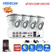 4CH 5MP Security CCTV Camera System 2592 1944 2pcs AHD Cameras Dome Cameras Waterproof Ip66 Outdoor