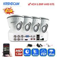 4CH 5MP Security CCTV Camera System 2592 1944 2pcs AHD Cameras Dome Cameras Waterproof Ip66 Outdoor