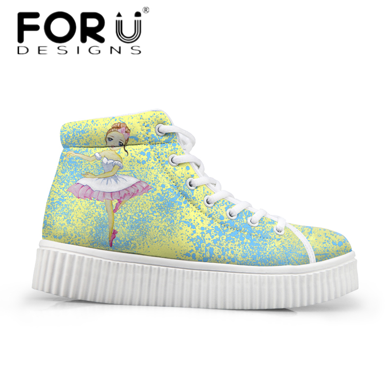 FORUDESIGNS Fashion Girls High Top Casual Flats Shoes Autumn Winter Female Height Increasing Ankle Boots Ladies Platform Shoes forudesigns fashion women height increasing flats shoes 3d pretty flower rose printed casual high top shoes for female platform