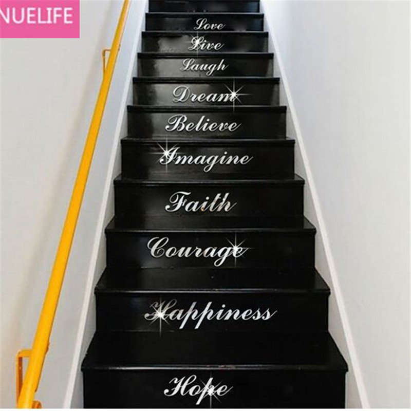 44x113cm Love Live Laugh English Letter Pattern Mirror Sticker Living room Bedroom kids room Stairs TV Background Wall Stickers