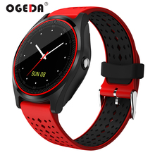 OGEDA V9 Smart Watch with Camera Bluetooth Smartwatch SIM Card Wristwatch for Android Phone Wearable Devices pk dz09 A1 gt08