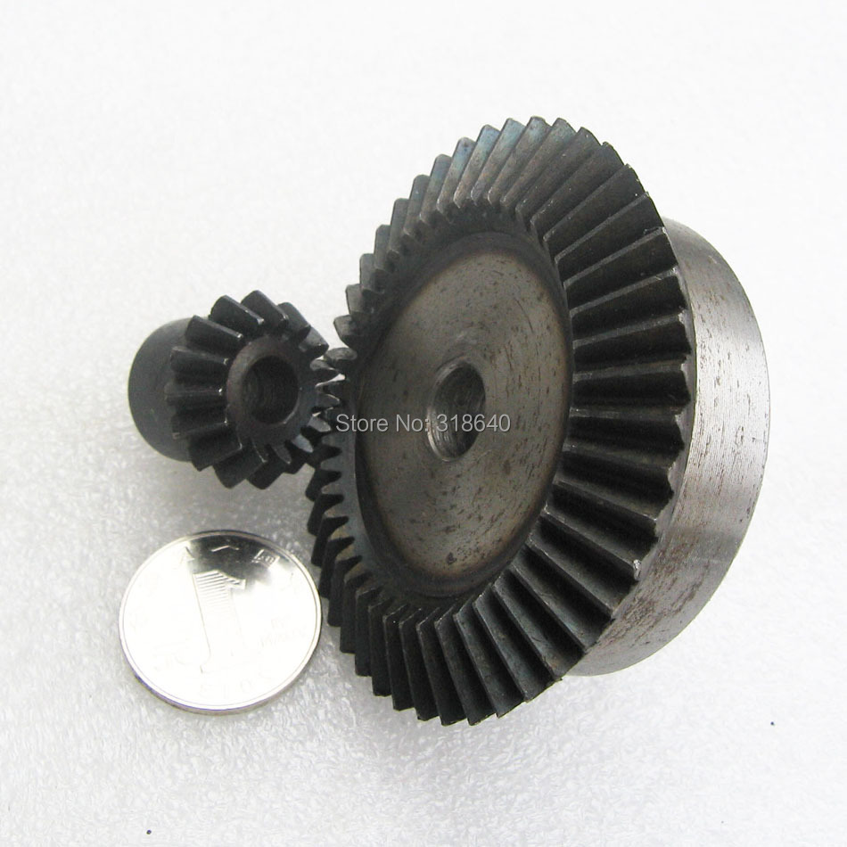 Bevel Gear  2M 15Teeth 45Teeth ratio 1:3 Mod 2 modulus 45# Steel Right Angle Transmission parts DIY Robot competition M=2 bevel gear a pair 20t 1 5 mod m modulus ratio 1 1 bore 8mm 45 steel right angle transmission parts
