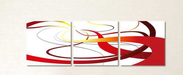 Wall Art Home Decoration Handpainted Oil Painting Pictures No Frame 3 Piece Red Yellow Brown Lines Simple Paintings Abstract