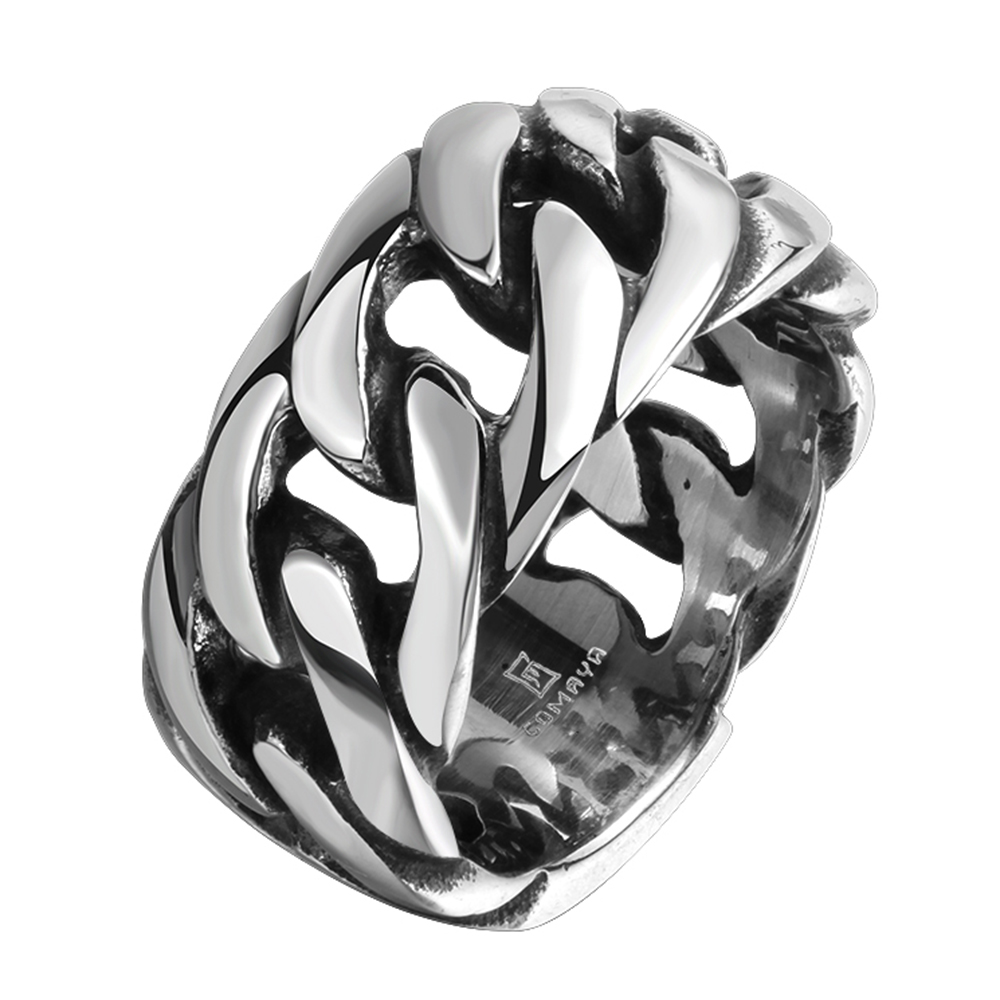 Gothic Personality Chain Ring Man Goth 316L Stainelss Steel Fashion 2017 Mens Accessories US Size 8 9 10 11.25