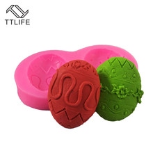 TTLIFE 2 Holes 3D Easter Eggs Silicone Molds Fondant Cake Decorating Tools Pastry Dessert Chocolate Cupcake Kitchen Bakery Mould