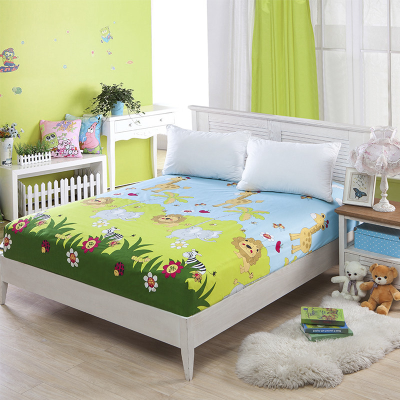 Green Animal Mattress Cover 180x200cm Child Mattress Protector Bed Bug Proof Dust Mite Mattress Pad Cover For Mattress Bedspread