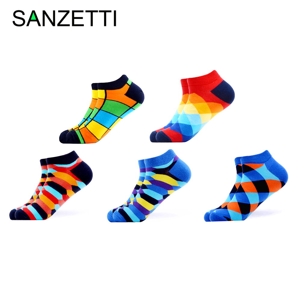 SANZETTI 5 Pairs/Lot Men's Breathable Combed Cotton Socks Casual Summer Happy Geometric Ankle Socks Harajuku Tend Dress Socks