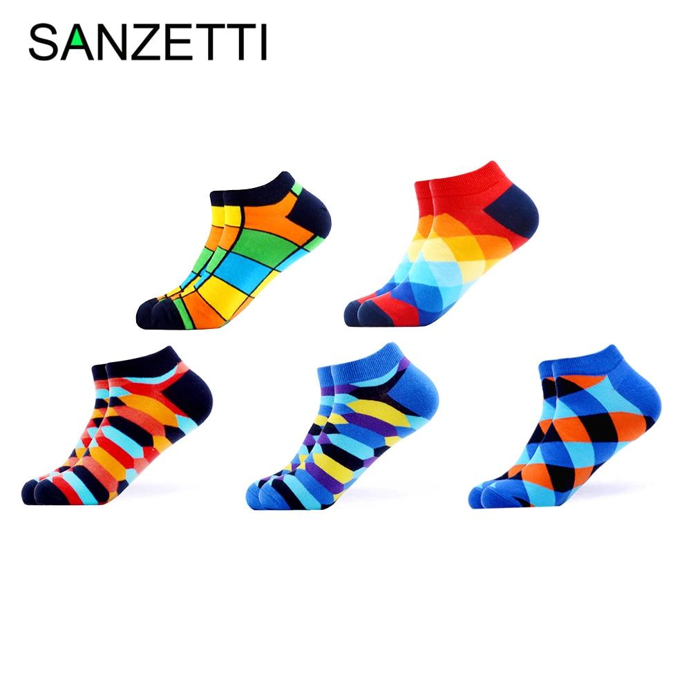 SANZETTI 5 Pairs/Lot Men's Breathable Combed Cotton Socks Casual Summer Happy Geometric Ankle Socks Harajuku Tend Dress Socks