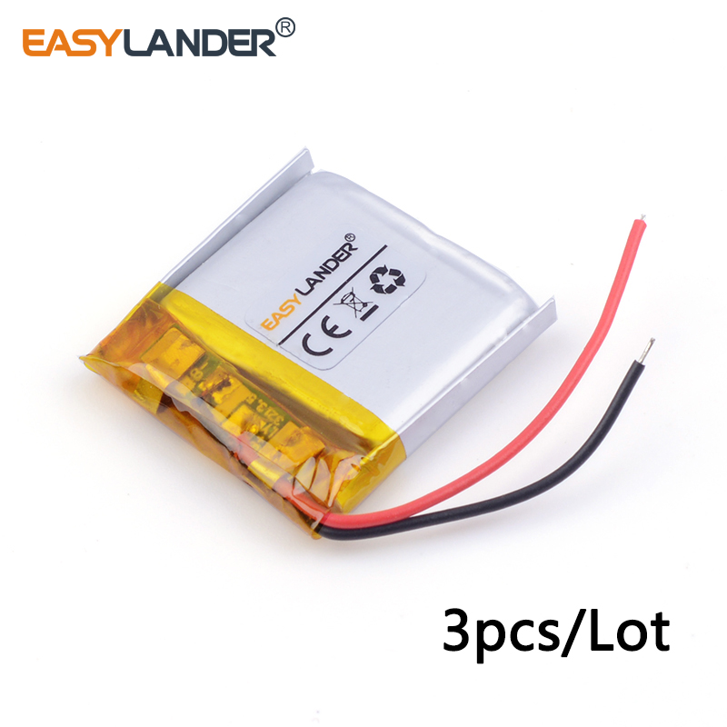 3pcs/Lot 3.7v lithium Li ion polymer rechargeable battery <font><b>402525</b></font> 250MAH Bluetooth headset speakers steelmate small toys 042525 image