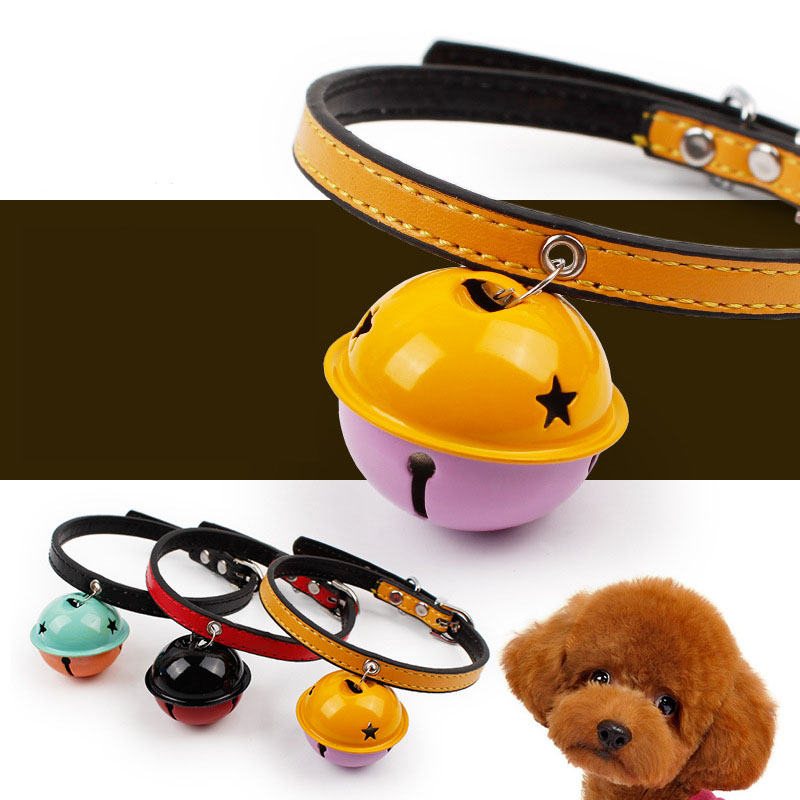 Cute Pet Cat Collar Soft PU Leather Puppy Small Dog Cat Collar with Big Bell Adjustable Kitten Collar suit for neck 28-33cm