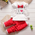 New Children Girls Clothing Sets Baby Letters Printed Casual Clothes Bow Tops T-Shirt Leggings Pants Baby kids 2pcs Suits 1-4 Y