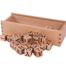 Wooden Montessori Toys Movable Alphabet Cube Language Material Educational Early Learning Toys Juguetes MontessoriE1864H