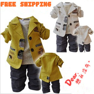 ФОТО Anlencool  New Arrival Free Shipping Newborn Baby Winter Clothes And Autumn Male Children Suit Child 100% Cotton Three Pics Set