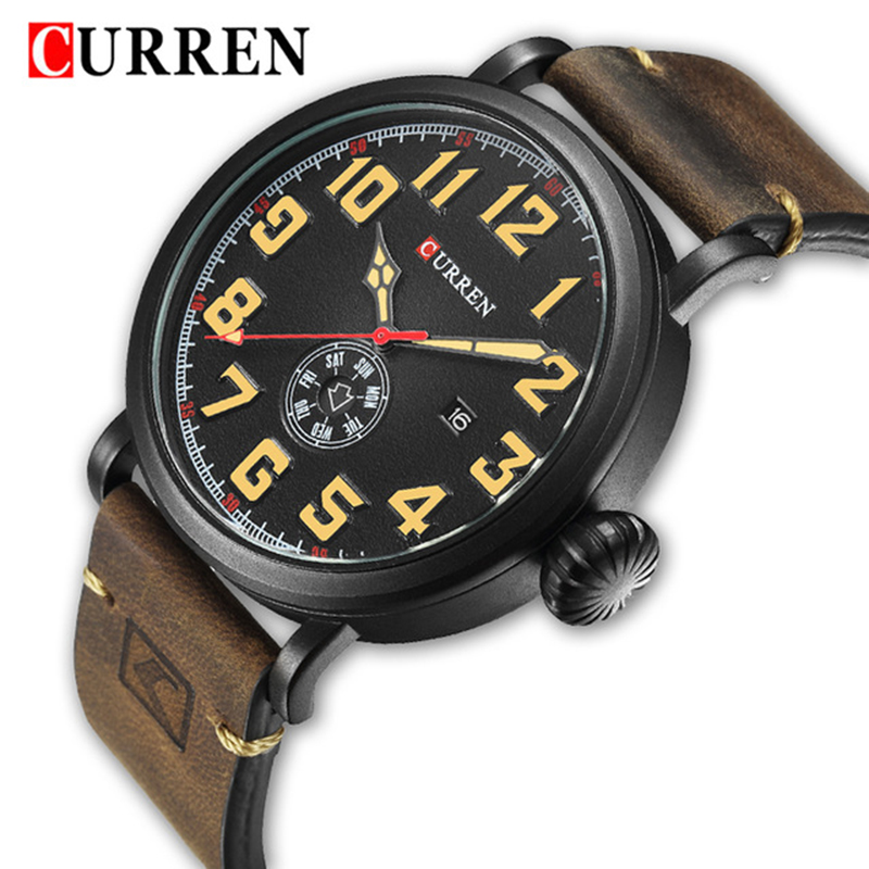 Curren 8283 Army Military Quartz Mens Watches Top Brand Luxury Leather Men Watch Casual Sport Male Clock Watch Relogio Masculino mens watches top brand luxury black quartz watch curren men wristwatches leather strap male casual sport clock relogio masculino