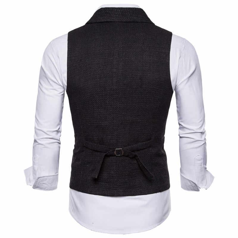 Riinr vestido de novia de alta calidad productos de algodón de diseño de moda para hombre chaleco gris negro de alta gama de negocios para hombre traje Casual chaleco