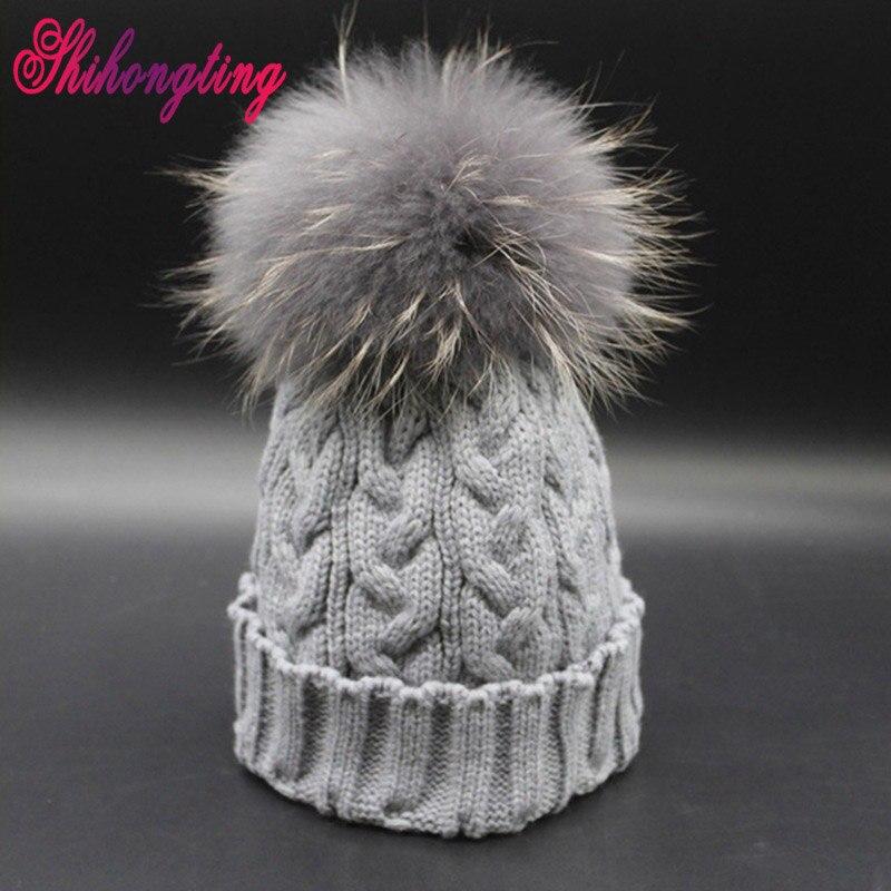 Solid Winter Knitted Hat Dyed Ball Cap Unisex Skullies Beanies Real Raccoon Fur Hats Women's Headgear Wholesale Sombrero ZZM002 skullies