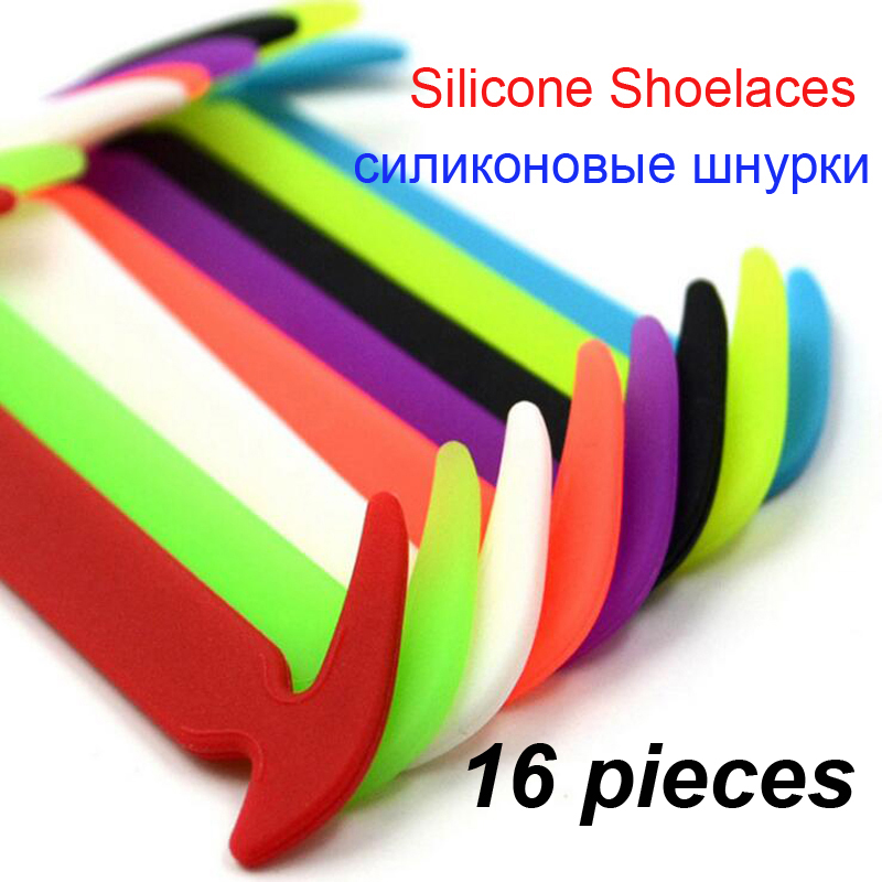 16 pieces/lot Elastic Silicone Shoelaces For Shoes Unisex No Tie Silicone Shoelace magical Special Shoelace For All Sneakers