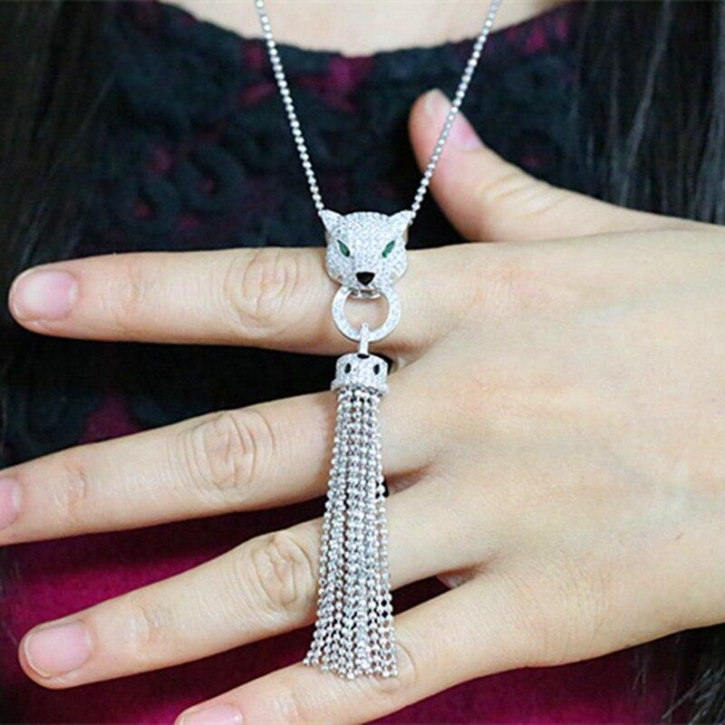 Luxus Quaste AAA Zirkon 925 Sterling Silber Leopard Halskette Stulpeohrring Schmuck Set AP * Tier Halskette Frauen Hochzeit Set-in Schmucksets aus Schmuck und Accessoires bei  Gruppe 2