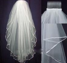 Покрывалами оптовой свадебная расческа фата горячих белого складе слоя тюль два