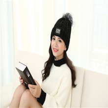 Winter Raccoon Fur Hats knitting Wool Sweater Hat Women Thick Ball Head Cap IGE Letters Curling Warm Hat HT285