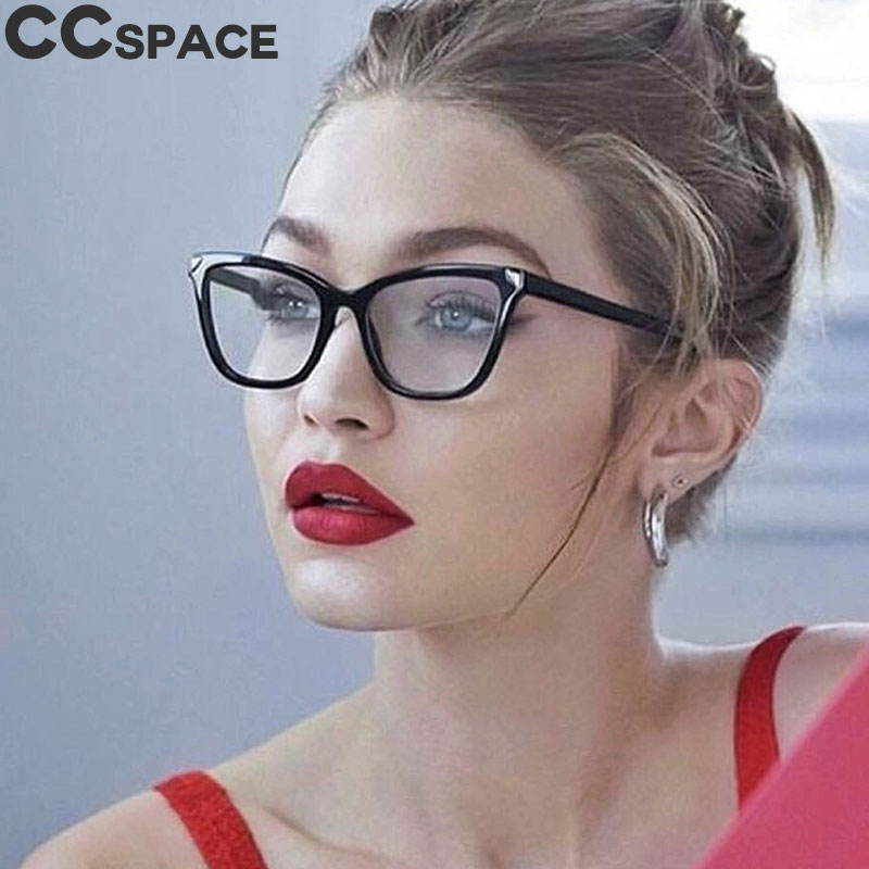 45625 Square Cat Eye Glasses Frames Women Retro Styles CCSPACE Brand Designer Optical Fashion Computer Glasses