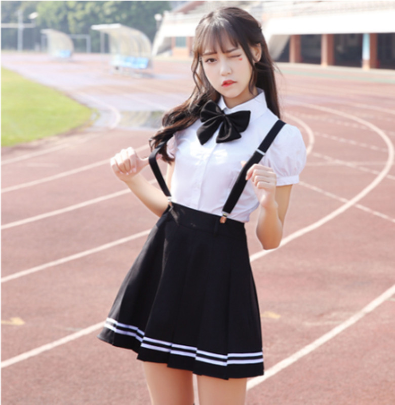 2018 Summer School Uniform Set Student Uniform Tie Sailor Suit Set Table Costume Japanese School Uniform Girl Short Sleeves