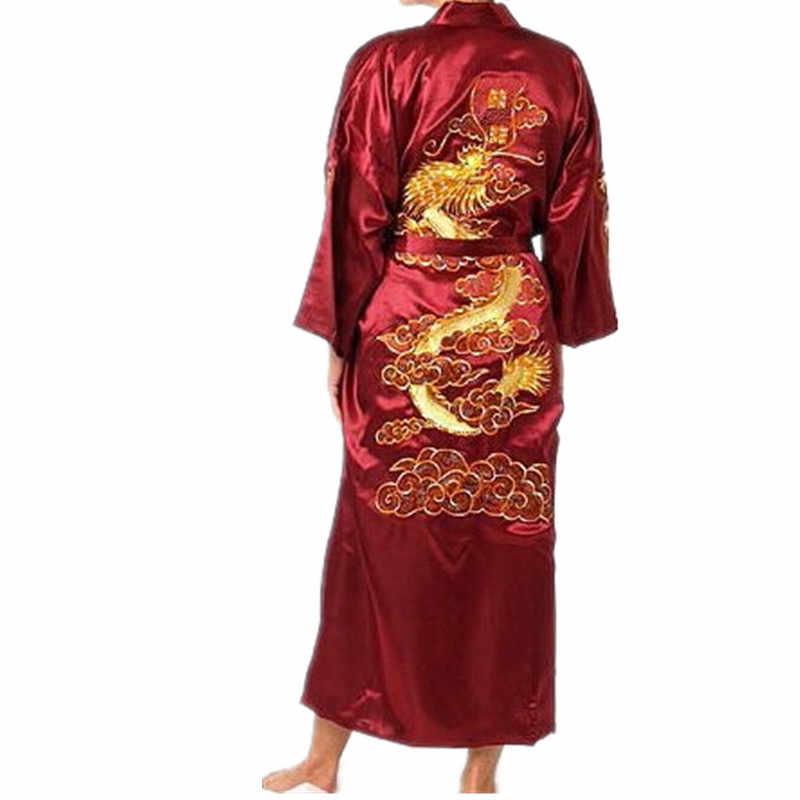 ホット販売ブルゴーニュ中国男性シルクサテンローブノベルティ伝統刺繍ドラゴン着物浴衣風呂ガウンサイズm l xl xxl xxxl