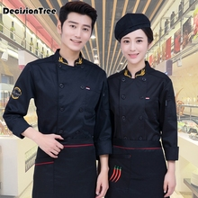 2019 summer black long sleeve master cook work uniforms restaurant hotel bbq kitchen high quality workwear clothing food service