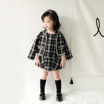 Anlencool 2018 Fashion Korean children autumn girl suit ladies wind suit for children checkered skirt Baby girl clothing set 1