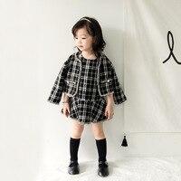 Anlencool 2018 Fashion Korean Children Autumn Girl Suit Ladies Wind Suit For Children Checkered Skirt Baby