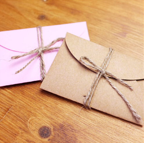 50pcs/lot Handmade Mini Craft Paper Envelope Brown And Pink Paper Bag DIY Multifunction Gift Envelope for Wedding Birthday Party