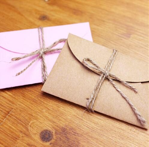 50pcs/lot Handmade Mini Craft Paper Envelope Brown And Pink Paper Bag DIY Multifunction Gift Envelope For Wedding Birthday Party