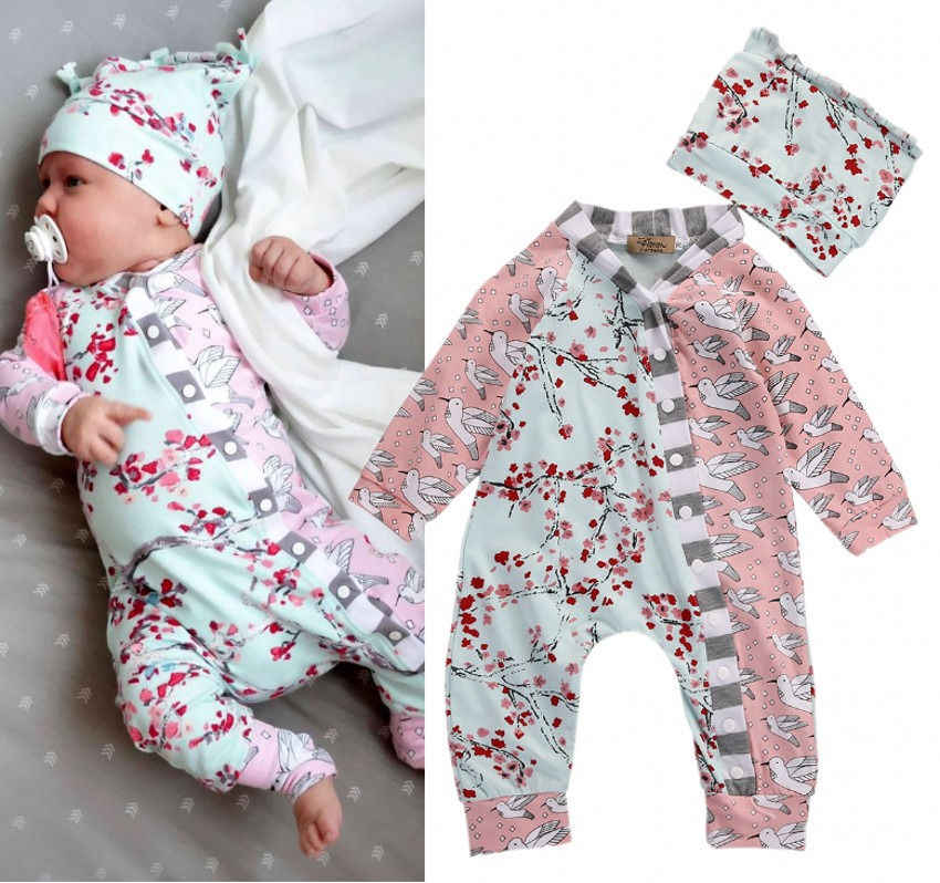 529fdba52b3f9 newborn baby girl clothes set Adorable Baby Girls Floral long sleeve Romper  One Piece Jumpsuit hat