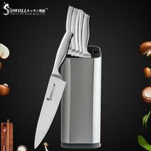 "Sowoll Cooking Kitchen Knives 3.5"" 5"" 7"" 8"" 8"" 8"" inch Stainless Steel Knife 8 inch Knife Holder Kitchen Accessories Knife Set(China)"