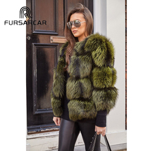 FURSARCAR 60 CM Regular Real    Natural Silver Fox Fur Jacket