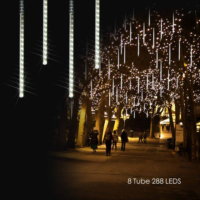 Solar Ed Led Outdoor Lights Meteor Shower Rain Icicle Raindrop Snow Falling Garden Holiday Wedding Decoration In Lighting Strings From