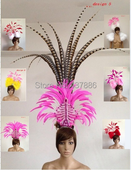 Carnival feather headwear for girls party dancing performance female clothes bow hair headdress dance feather headpiece costume blue indian luxury headpieces king queen unisex cosplay costumes diamond feather headdress for women and men peagents carnival