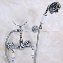 Tap-Crane Shower Faucet Bathroom Basin Mixer Hand-Shower-Head Wall-Mounted Chrome Polished