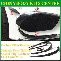 Mercedes CLA Carbon Fiber Bumper Canards Front Splitter Spoiler Flip For Benz CLA Class W117 CLA45