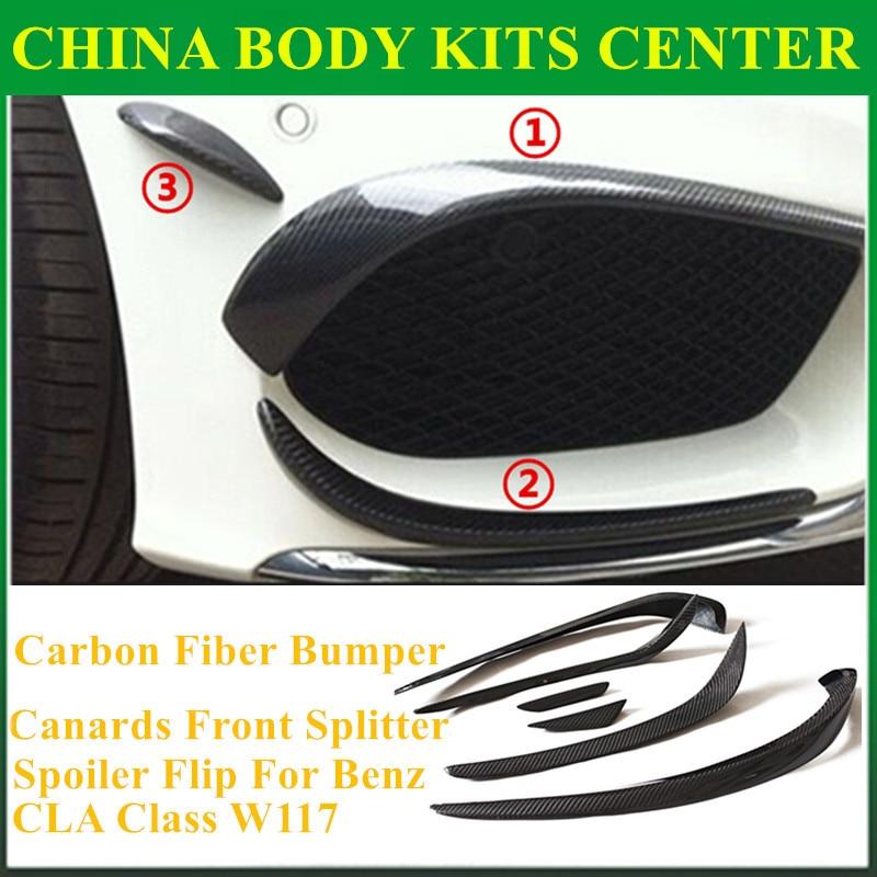 Mercedes CLA Carbon Fiber Bumper Canards Front Splitter Spoiler Flip For Benz CLA Class W117 CLA45 AMG CLA180 CLA200 CLA250 2013 for mercedes cla carbon front bumper splitter