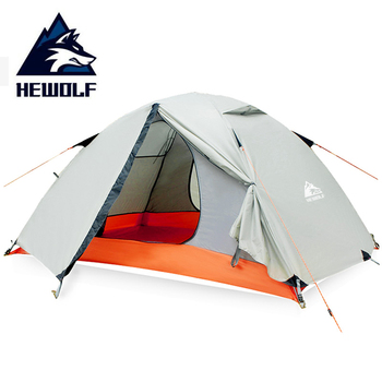 цена на Hewolf 2 Person Waterproof Camping Tents For Outdoor Recreation  Double Layer 4 Seasons Hiking Fishing Beach Tourist Tents