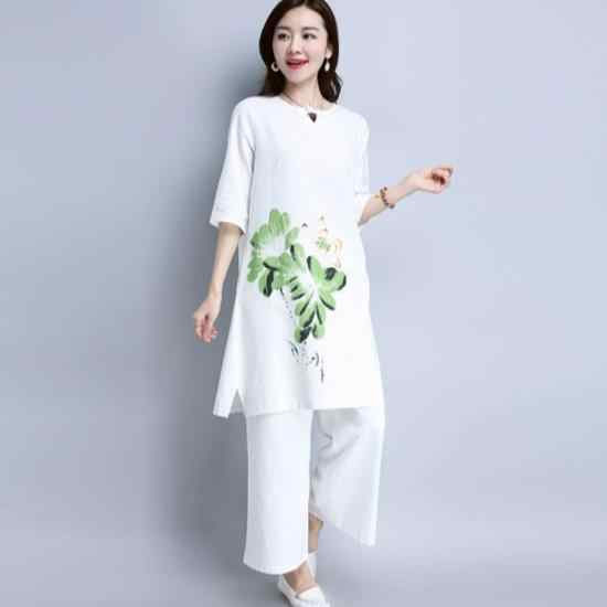 cheap price usa cheap sale the sale of shoes 2020 summer women sets elegant cotton and linen loose long blouse ...