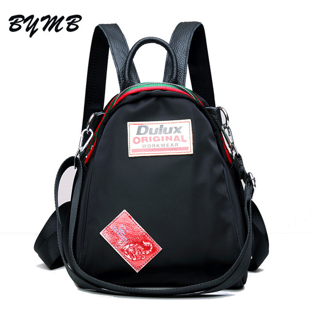 25440b04f9 Preppy Style Women Backpack Waterproof Nylon Backpack Lady Women s Cowhide Backpacks  Female Casual Travel Bag Mochila Feminina