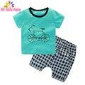 HE Hello Enjoy boys clothing sets summer 2017 kids clothes boys Short sleeve print bicycle t-shirt+plaid suit children clothing