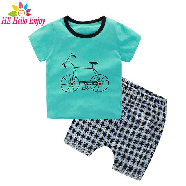 He hello enjoy meninos conjuntos de roupas de verão 2017 roupa dos miúdos dos meninos t-shirt + xadrez impressão de manga curta bicicleta terno roupas crianças